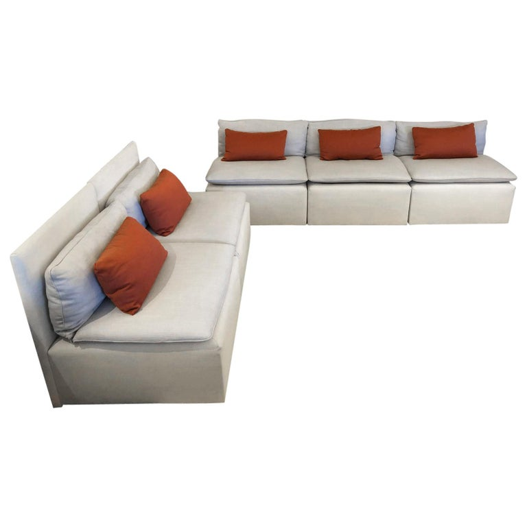 Euro Modular Linen Sofa Set Five Pieces At 1stdibs