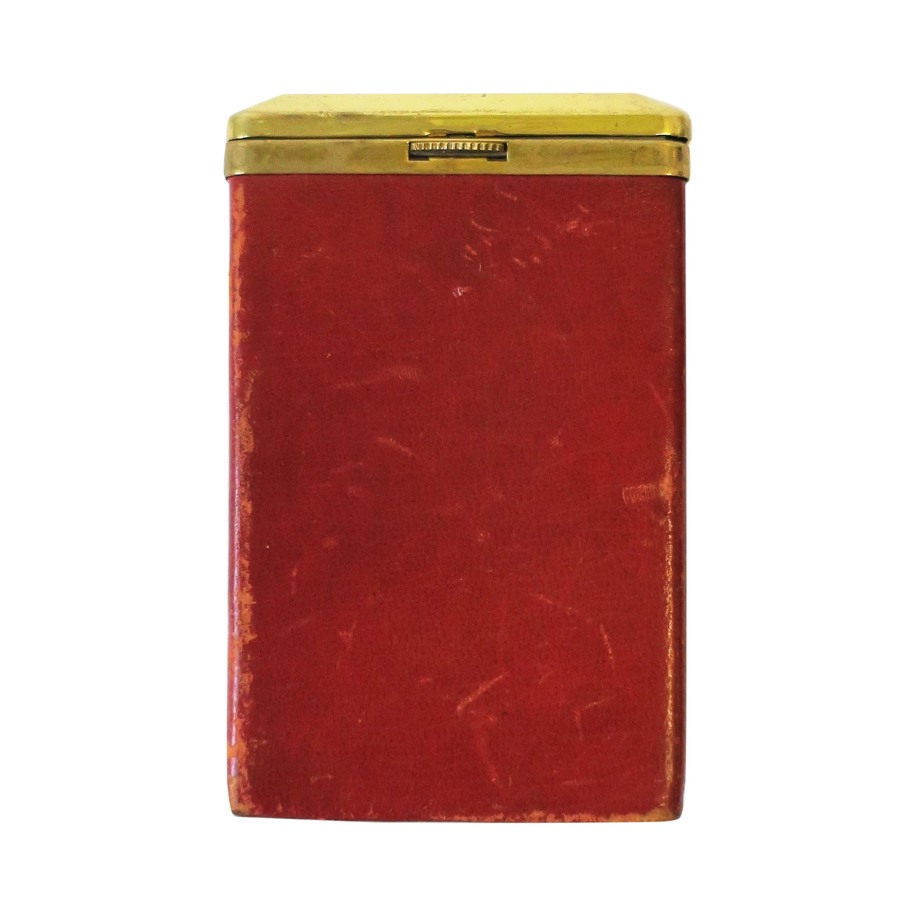 Euro Red Leather and Brass Cigarette Holder Case or Box