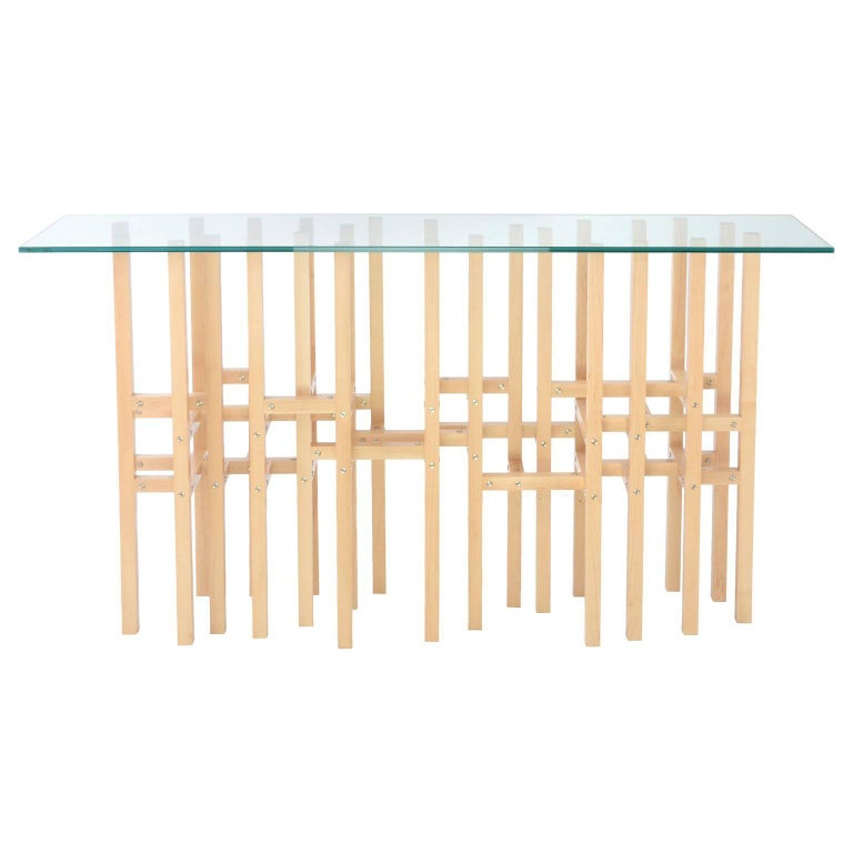 Europa 'In Stock' Modern Industrial Hall Table with Glass Top Metal & Maple Wood For Sale