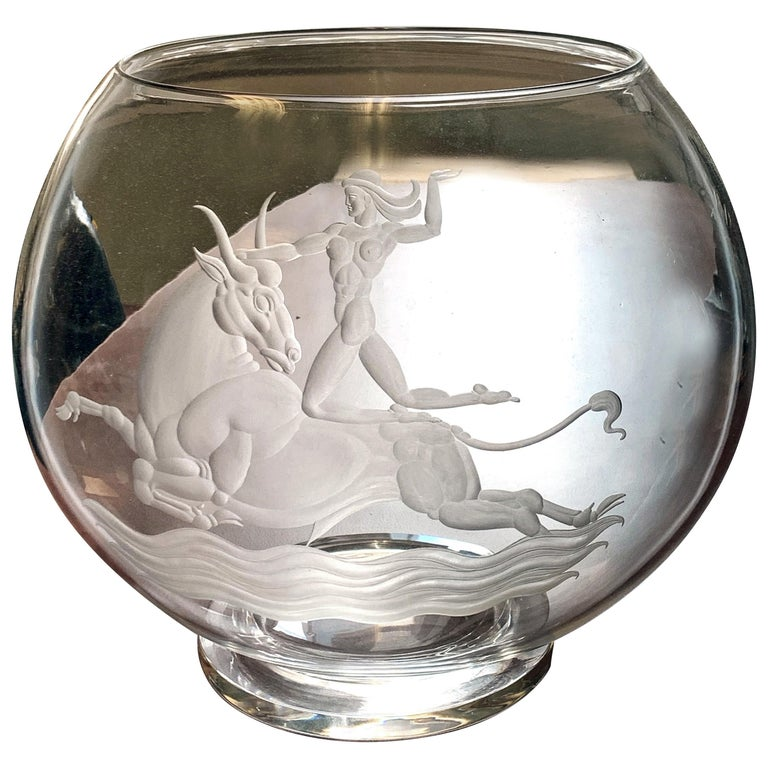 """""""Europa & the Bull,"""" Art Deco Masterpiece in Engraved Glass by Waugh for Steuben For Sale"""