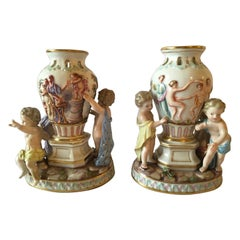 Europe Mid-19th Century Meissen Pair Porcelain Vases