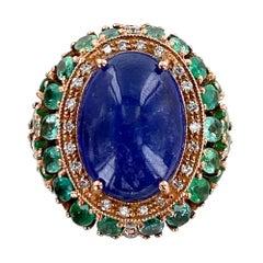 15 Carat Tanzanite Diamond Emerald Cocktail Ring 9 Karat Rose Gold