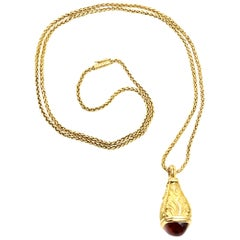 European 18 Karat Gold, Citrine and Diamond Drop Pendant Necklace
