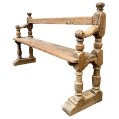 European 18th Century Oak Folk Art Wooden Bench