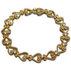 European 22 Karat Gold Bezel Diamond Eternity Heart Bracelet