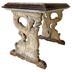 European Antique Carved Dolphins Table with Marble Top