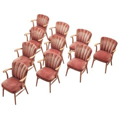 European Armchairs in Soft Pink Velvet Upholstery and Beech