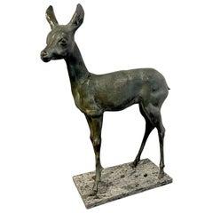 European Art Deco Bronze of a Standing Fawn