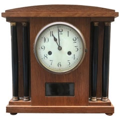 European Art Deco Oak Wood Table Clock, circa 1920