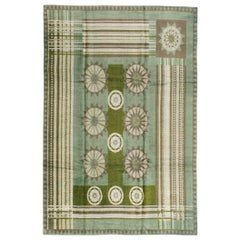 European Art Deco Rug Inspired by Edward McKnight Kauffer in Laurel Green