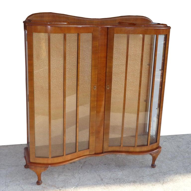 Queen Anne European Art Deco Walnut Glass Curio Display Cabinet For Sale