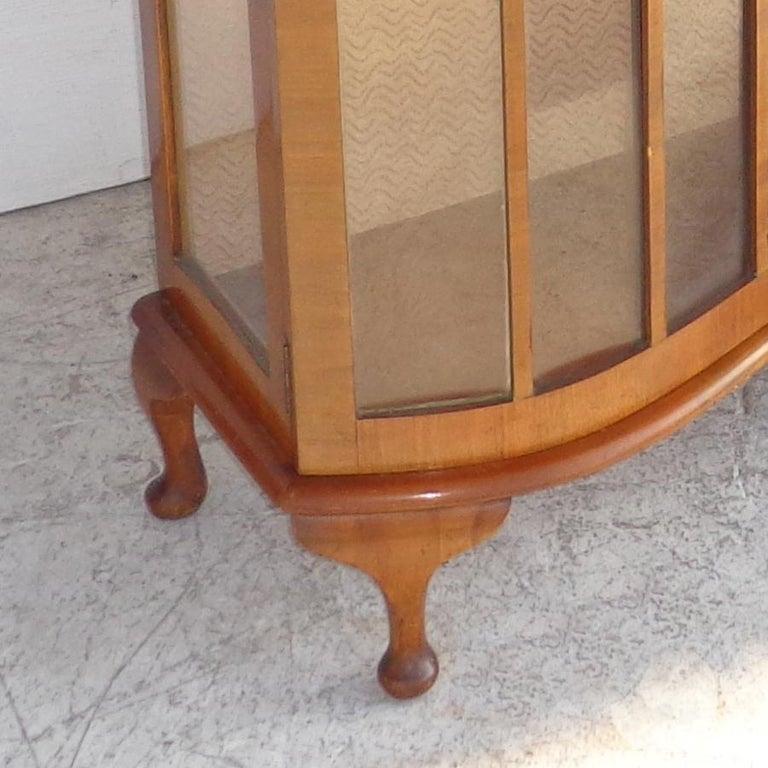 20th Century European Art Deco Walnut Glass Curio Display Cabinet For Sale
