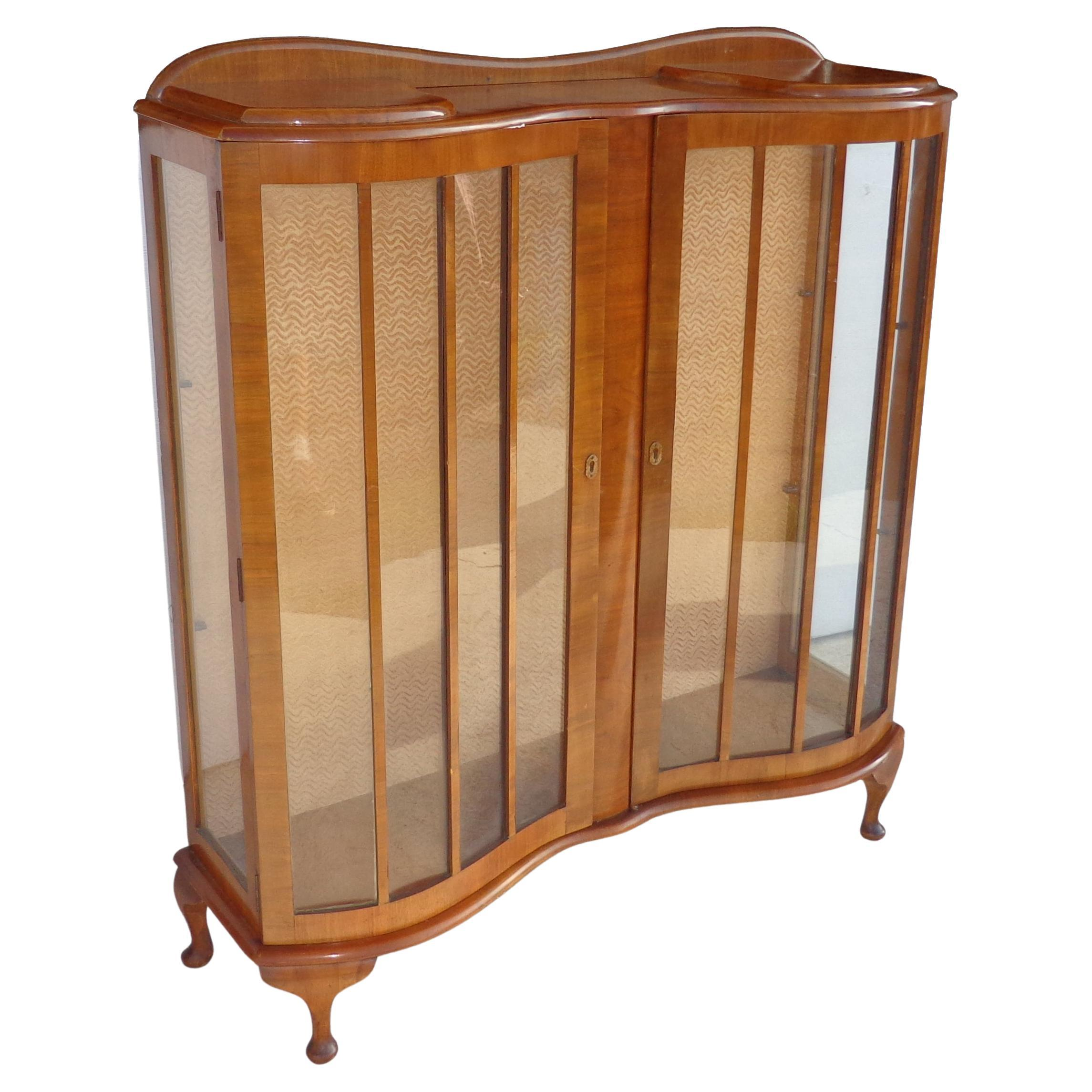 European Art Deco Walnut Glass Curio Display Cabinet