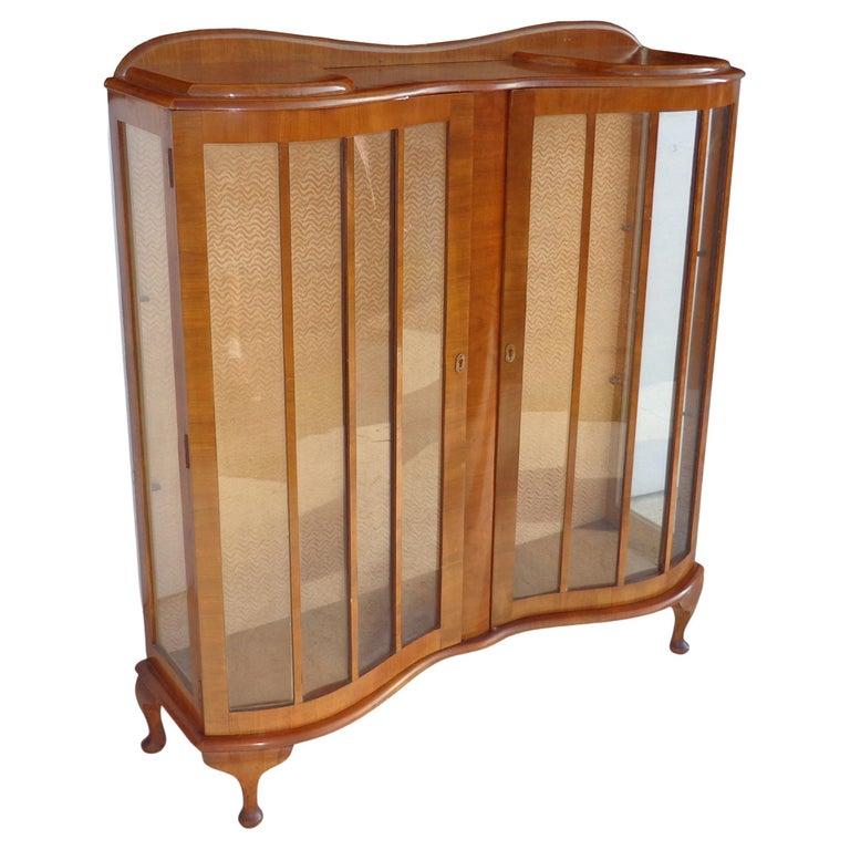 European Art Deco Walnut Glass Curio Display Cabinet For Sale