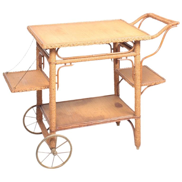 European Bar Cart in Rope and Pine, 1930s