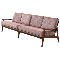 European Beechwood Mid-Century Modern Two-Piece Sofa Sectional, Restored