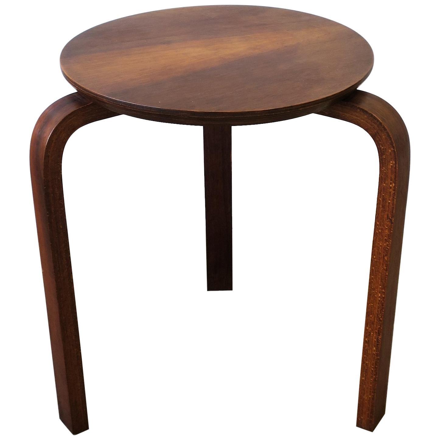 European Bentwood Stool or Side Table after Designer Alvar Aalto