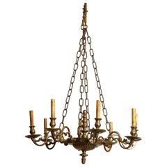 European Brass Chandelier