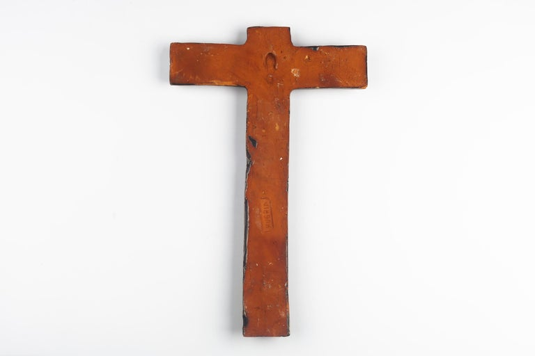 Late 20th Century European Ceramic Wall Cross, 1970s For Sale