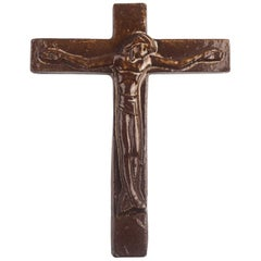 European Ceramic Wall Cross, 1970s