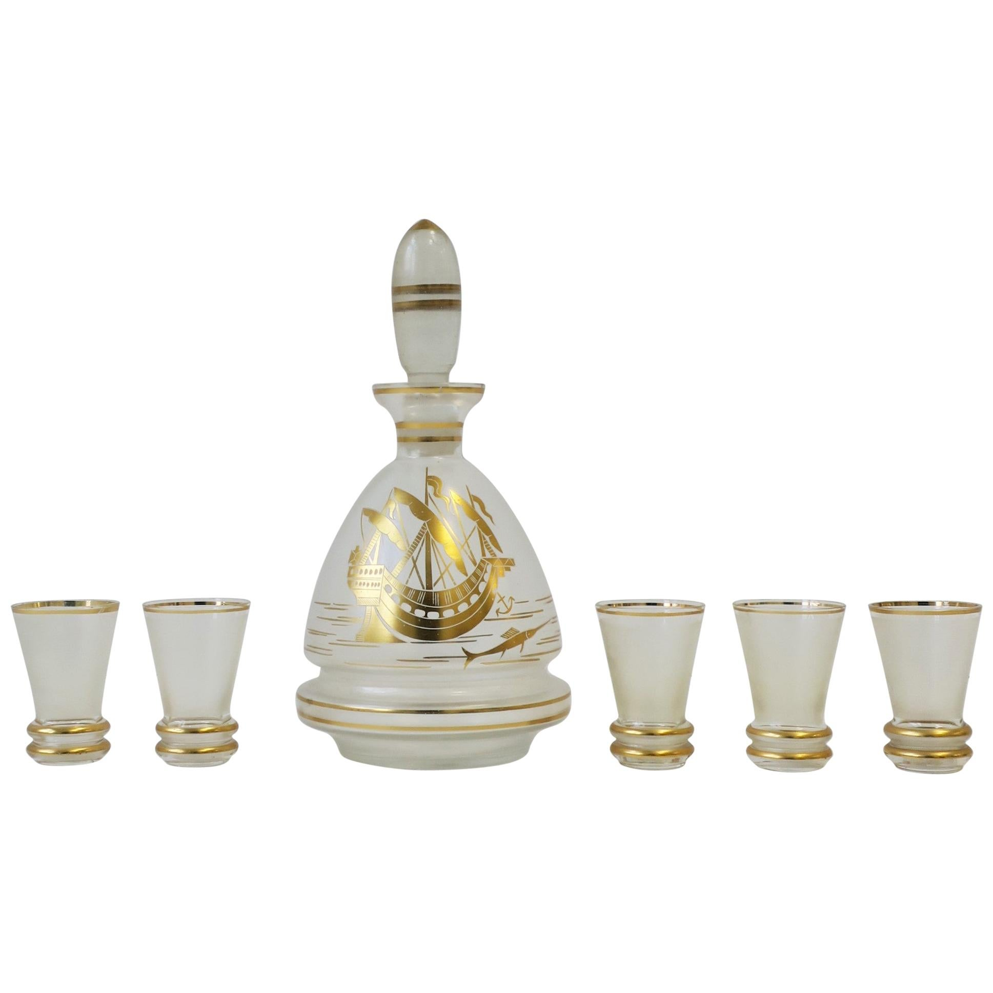 European Liquor Decanter and Shot Glass Set with Gold Nautical Design Barware