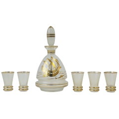 European Clear & Gold Liquor Decanter and Shot Glasses Set with Nautical Design