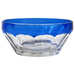 European Cobalt Blue and Clear Crystal Bowl