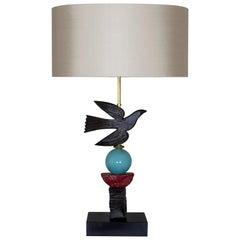 European, Contemporary Bird in Flight Table Lamp by Margit Wittig, Blue Glass