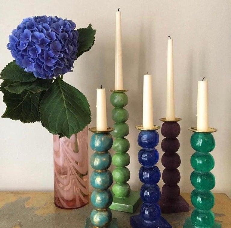 Modern European Contemporary Green Sculptural Candlestick by Margit Wittig For Sale