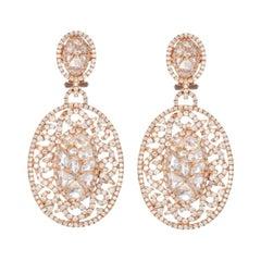 European Cut Diamond Dangle Earrings in Rose Gold
