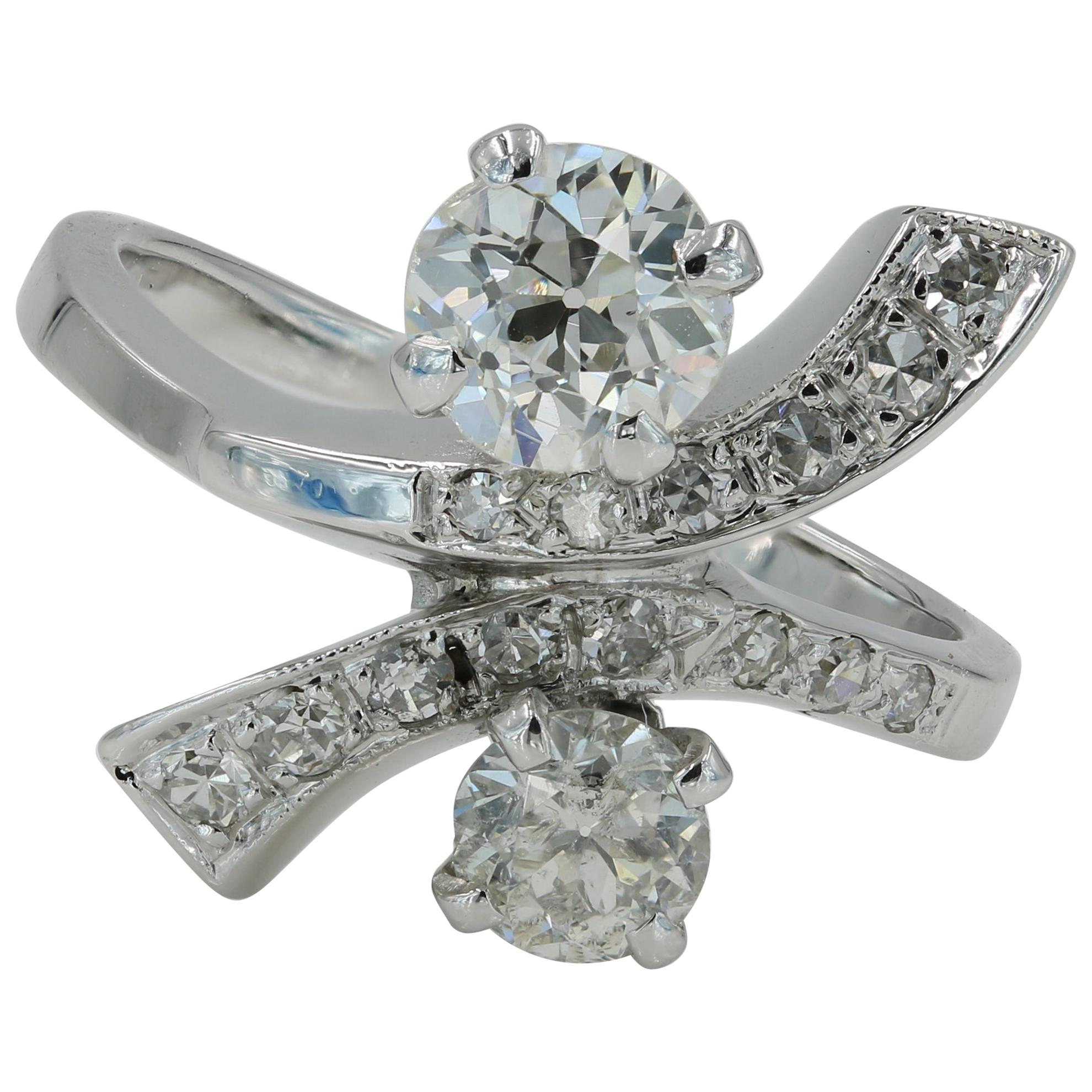 European Cut Diamond Estate Twist Ring in 14 Karat White Gold