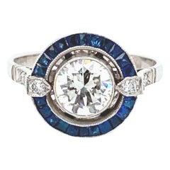European Cut Diamond Solitaire and Sapphire Ring in Platinum