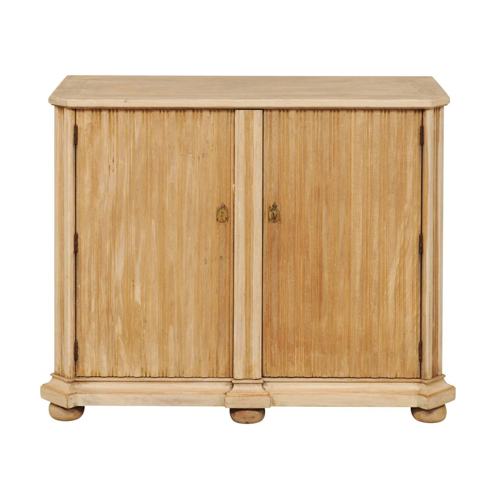 European Cute Sized Buffet In Nice Neutral Wood Finish Raised On Bun Feet