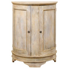 European Demilune Two-Door Painted Cabinet, Cute Size for Smaller Spaces