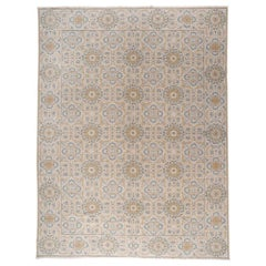 European Design Area Rug with Blue and Gold