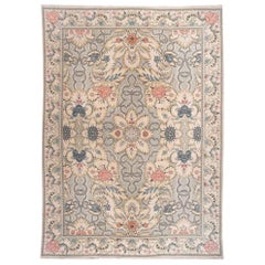 European Design Floral Rug with Grey and Ivory
