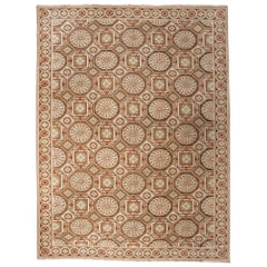 European Design Rug in Brown, Green and Rust