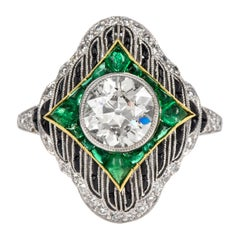 European Diamond Emerald Onyx Platinum Ring