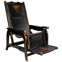 European Elmwood Black Lacquered Deckchair