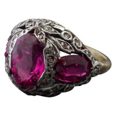 European Georgian Rubellite and Diamond Ring Fit for a Duchess