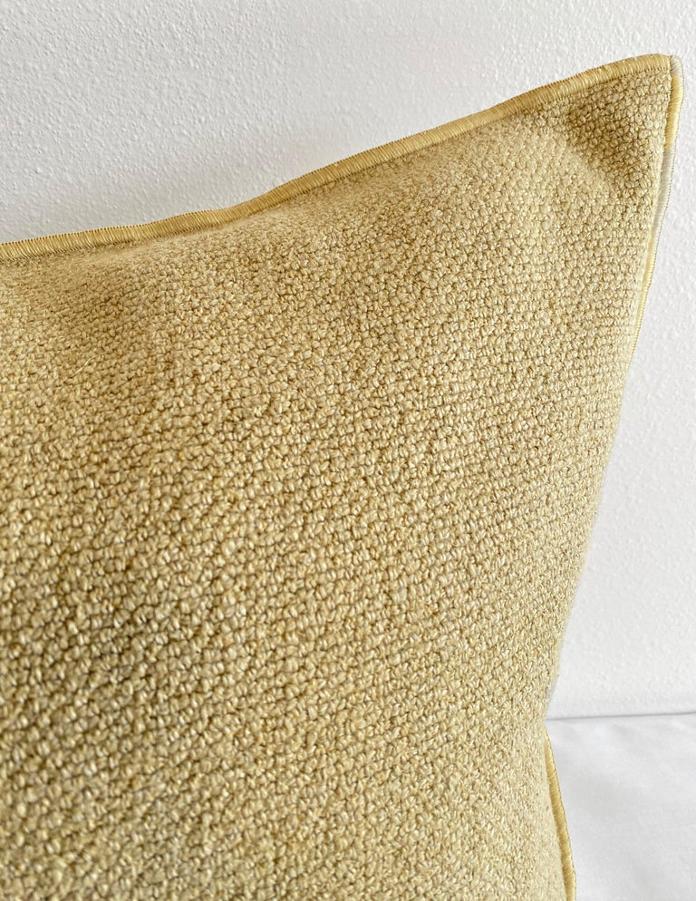 European Gold Linen Lumbar Pillow with Decorative Edge In New Condition For Sale In Brea, CA
