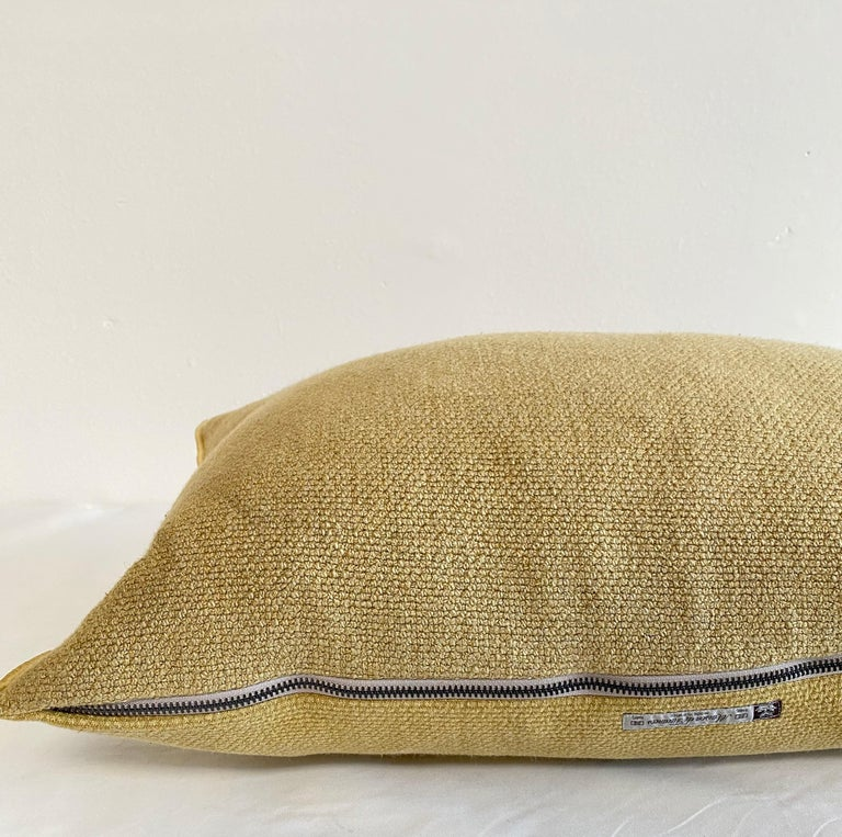 Contemporary European Gold Linen Lumbar Pillow with Decorative Edge For Sale
