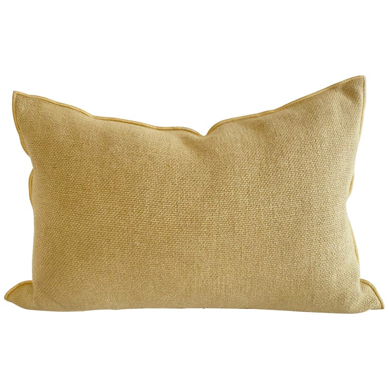European Gold Linen Lumbar Pillow with Decorative Edge For Sale