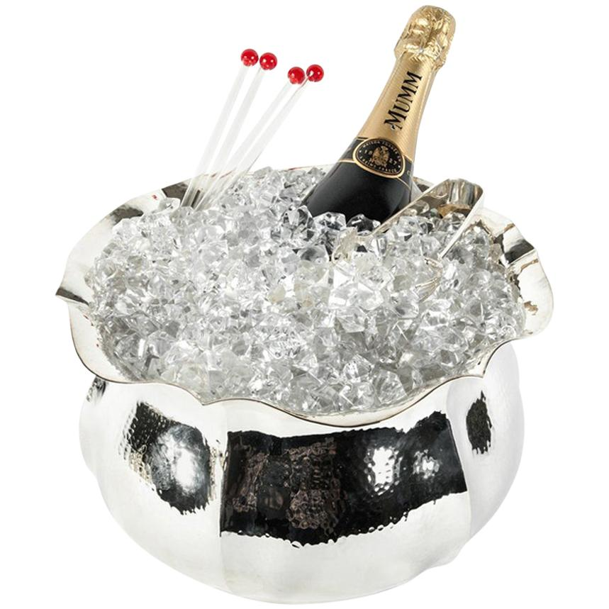 European Hammered Silver Plated Barware Champagne Cooler