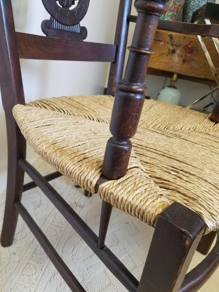 Hand-Carved European Hand Carved Dark Oak Armchair with Rush Seat For Sale