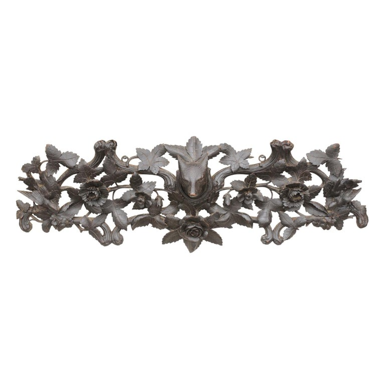 European Hand Carved Wall Decor with Fox Head and Foliage, circa 1900 For Sale