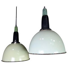 European Industrial Pendant Lights, circa 1930