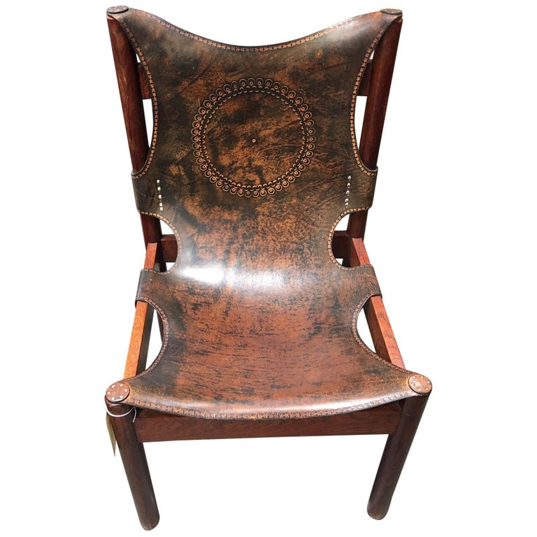 European Leather Embroidered Chair For Sale