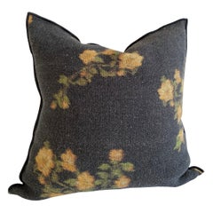 European Linen Roses Accent Pillow with Down Insert