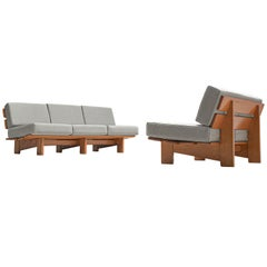 European Lounge Set in Oak with Grey Upholstery, 1950s